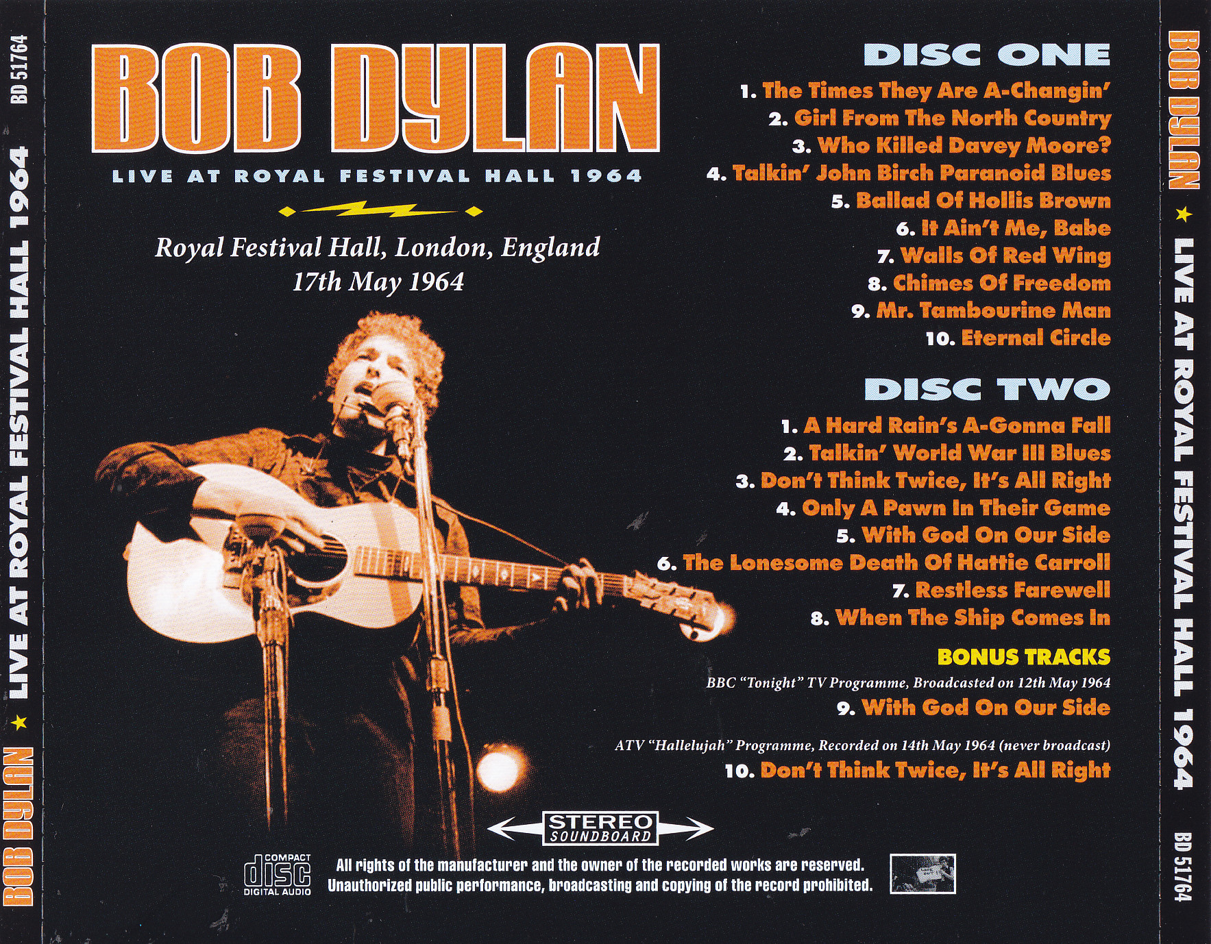 Bob Dylan - Live At Royal Festival Hall 1964 (2CD) BD-51764