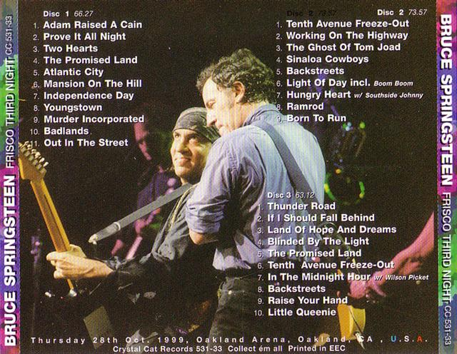 Bruce Springsteen And The E Street Band - Frisco Third Night (3CD) Crystal  Cat Records CC 531/32/33