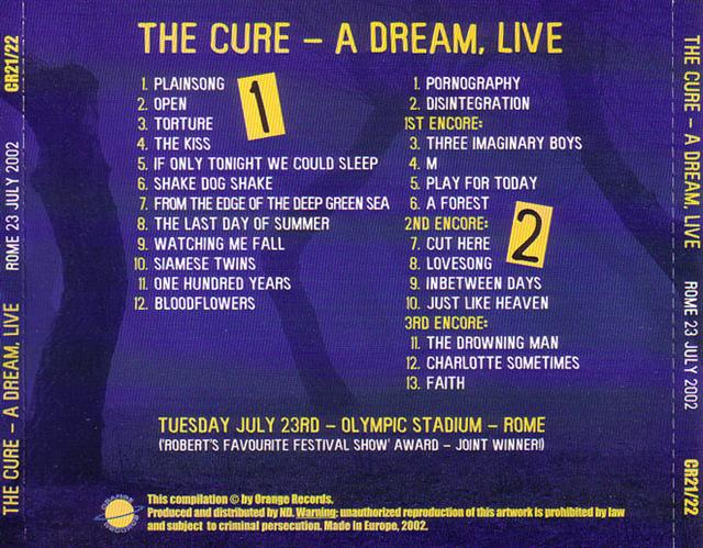Cure, The - A Dream Live (2CD) CR-21/22