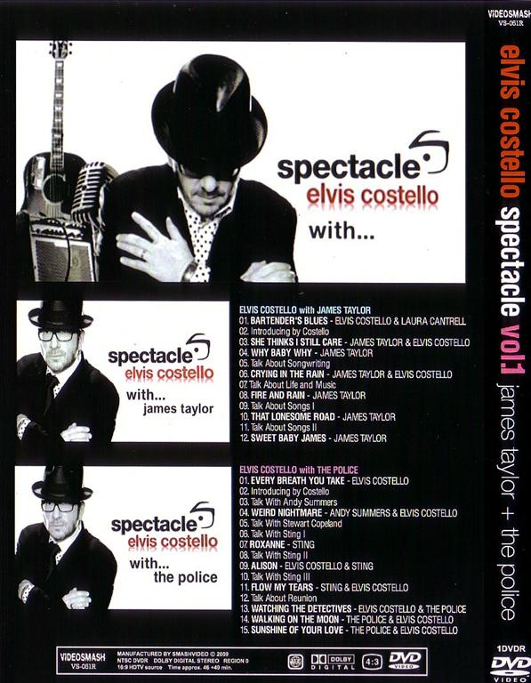 Elvis Costello With James Taylor/Police - Spectacle Vol 1 (1Pro-DVDR)  Videosmash  VS-051R