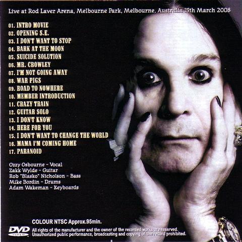 With Zakk Wylde Rod Laver Arena Australia 2008 Poster Ozzy Osbourne