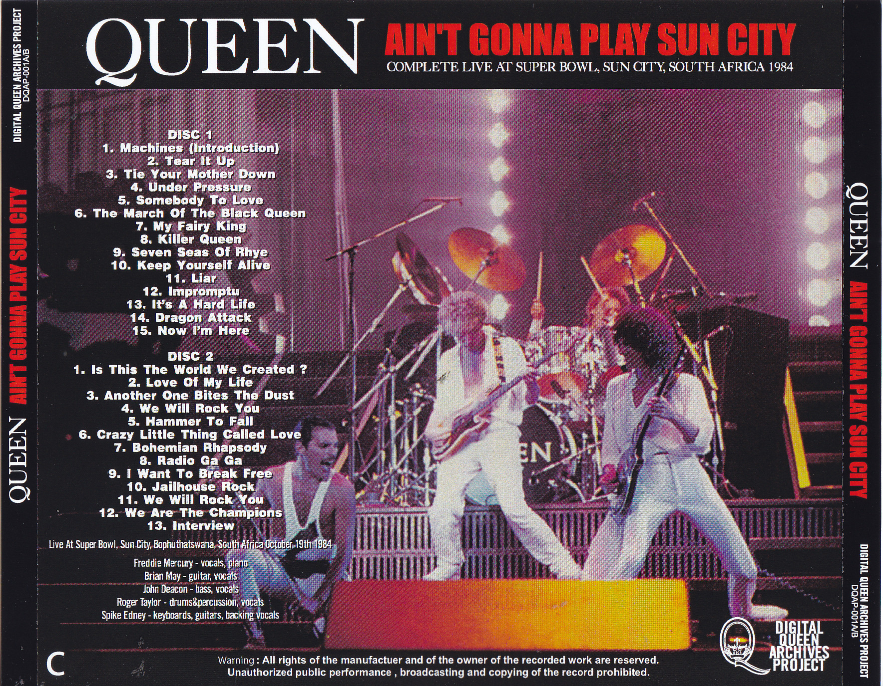 Queen - Aint Gonna Play Sun City (2Pro-CDR) Digital Queen Archives  Project DQAP-001A/B
