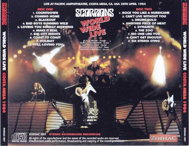 Scorpions – World Wide Live Costa Mesa 1984 (2CD) Zodiac 037 ...