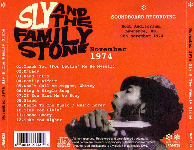 Sly The Family Stone Nov 74 1pro Cdr Jamree Music Jrm 038