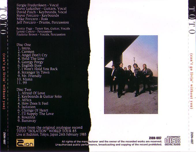 TOTO - Can't Go Livin' Without You (2CD) Zion-007