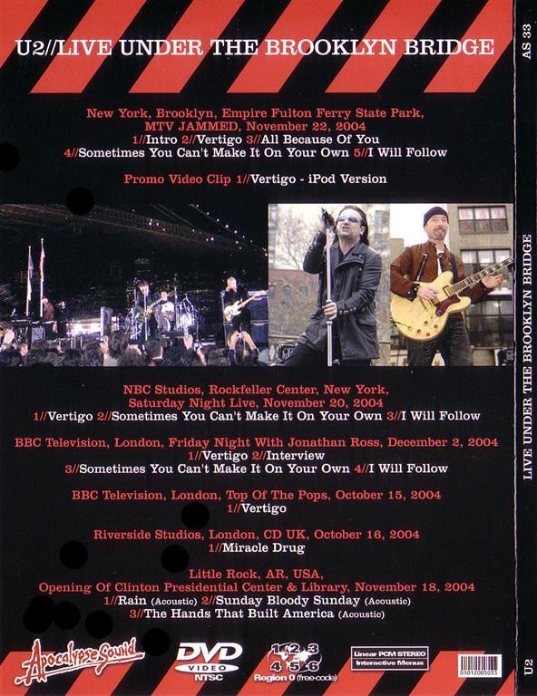 U2 - Live Under The Brooklyn Bridge (1DVD Digipak) Apocalypse Sound  AS-33