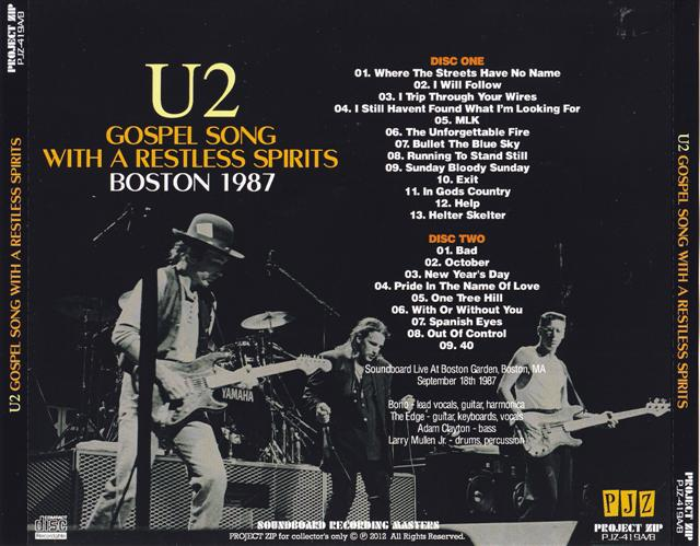 U2 - Gospel Song With A Restless Spirits Boston 1987 (2Pro-CDR) Project  Zip  PJZ-419A/B
