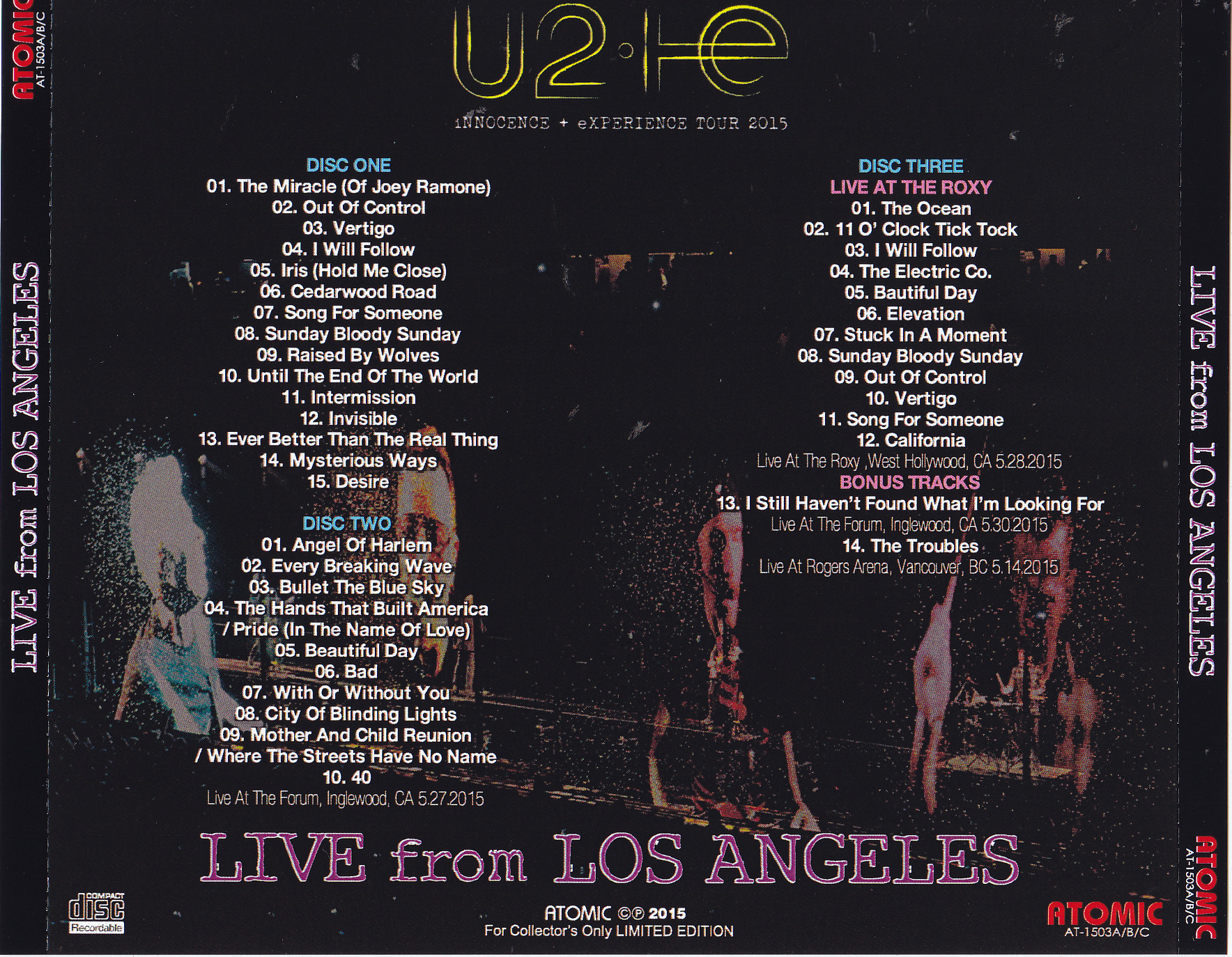 U2 - Innocence + Experience Tour 2015 Live From Los Angeles (3Pro-CDR)  Atomic  AT-1503A/B/C