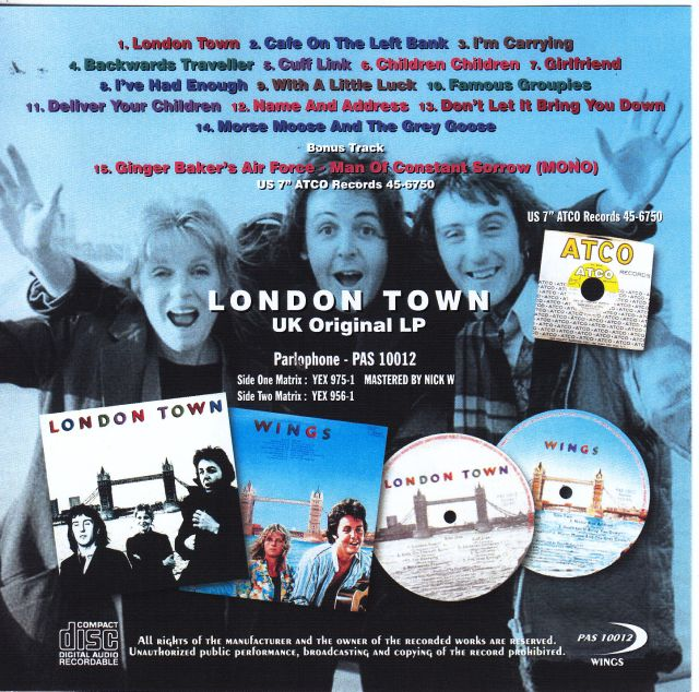 Paul McCartney & Wings - London Town Uk Original LP Parlophone (1Single  CDR) PAS 10012