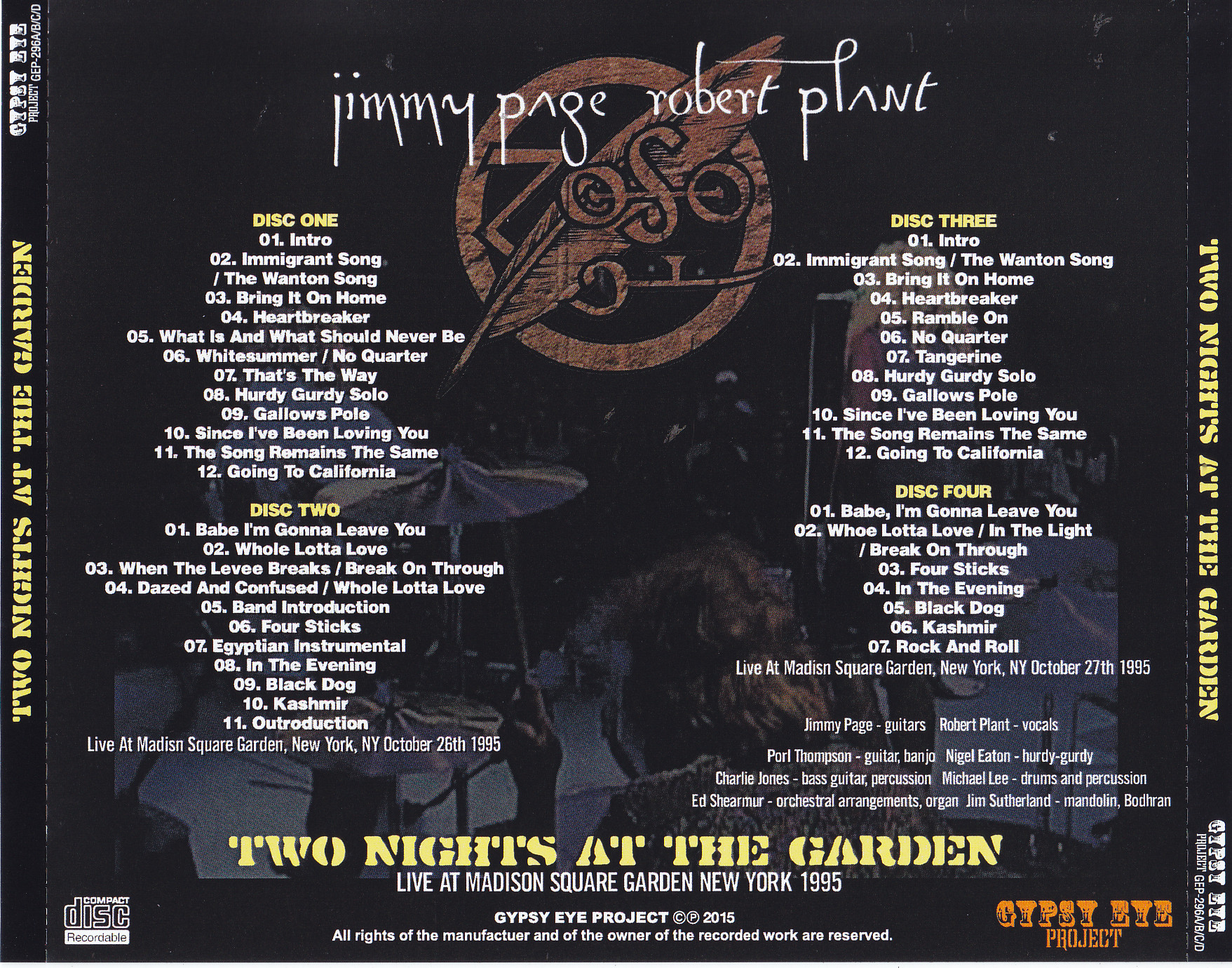 Jimmy Page & Robert Plant - Two Nights At The Garden (4Pro-CDR) Gypsy Eye  Project  GEP-296A/B/C/D