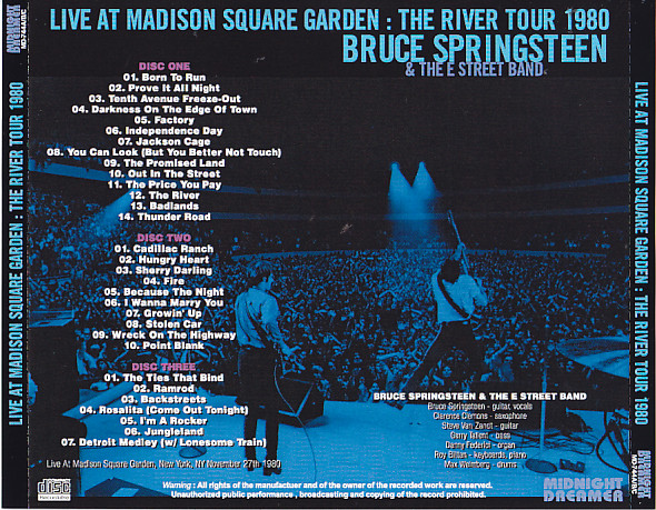 Bruce Springsteen And The E Street Band Live At Madison Square Garden The River Tour 1980 3pro Cdr Midnight Dreamer Md 744a B C Discjapan