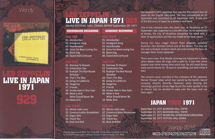 Led Zeppelin - Live In Japan 1971 929 (6CD With Slipcase) Wendy label   WECD-273-278