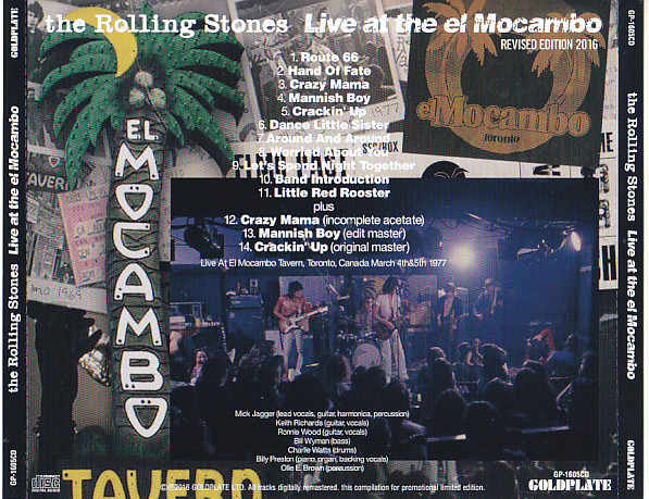 Rolling Stones, The - Live At The El Mocambo (1CD) Goldplate  GP-1605