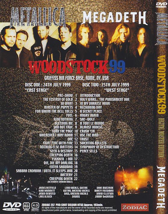 Metallica And Megadeth - Woodstock 99 (2DVD)Zodiac 257