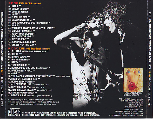 Rolling Stones, The - European Tour 1973 KBFH Broadcast 1974 & 1988 - 2nd  Edition (2CD) Non Label