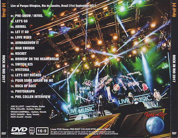 Def Leppard - Rock In Rio 2017 ( 1DVD ) Non Label