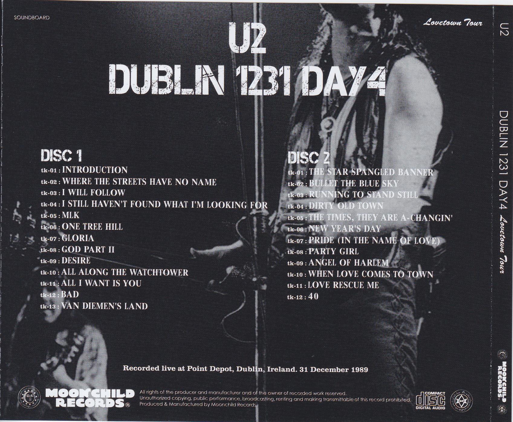 U2 - Dublin 1231 Day 4 Lovetown Tour (2CD) Moonchild Records  MC 048