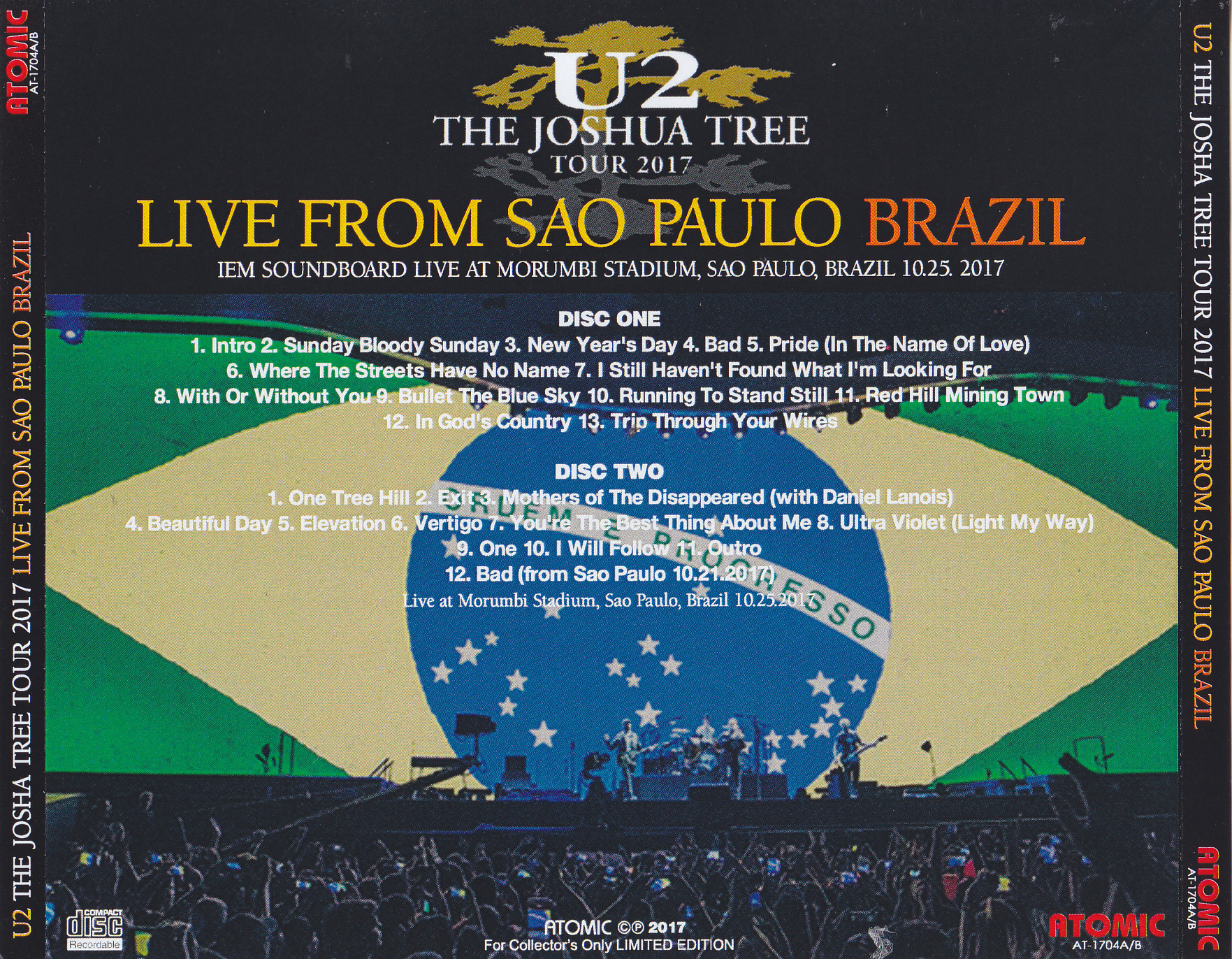 U2 - The Joshua Tree Tour 2017: Live From Sao Paulo Brazil ( 2Pro-CDR )  Atomic  AT-1704AB