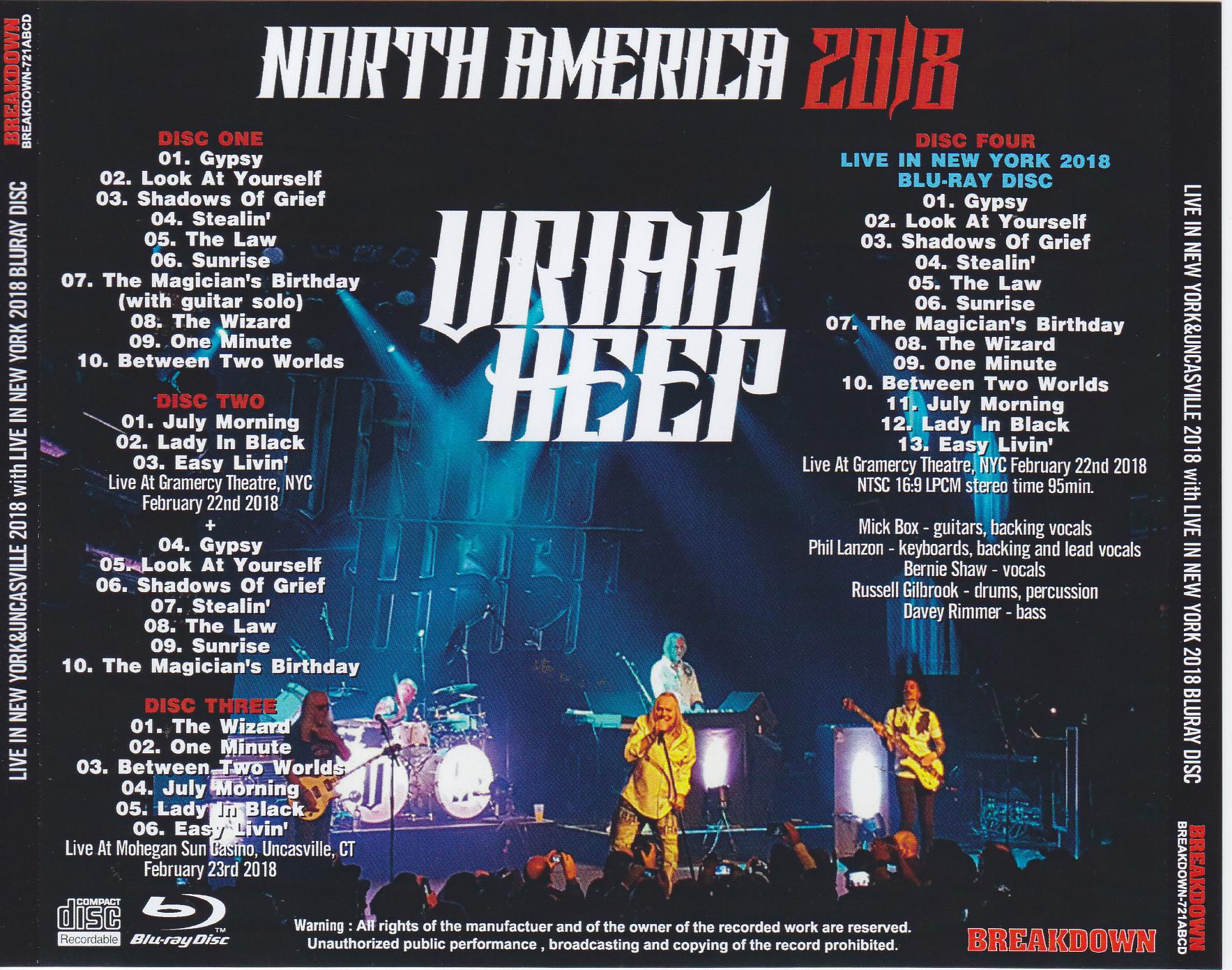 Uriah Heep North America 2018 3pro Cdr 1blu Ray R Breakdown 721a B C D Discjapan