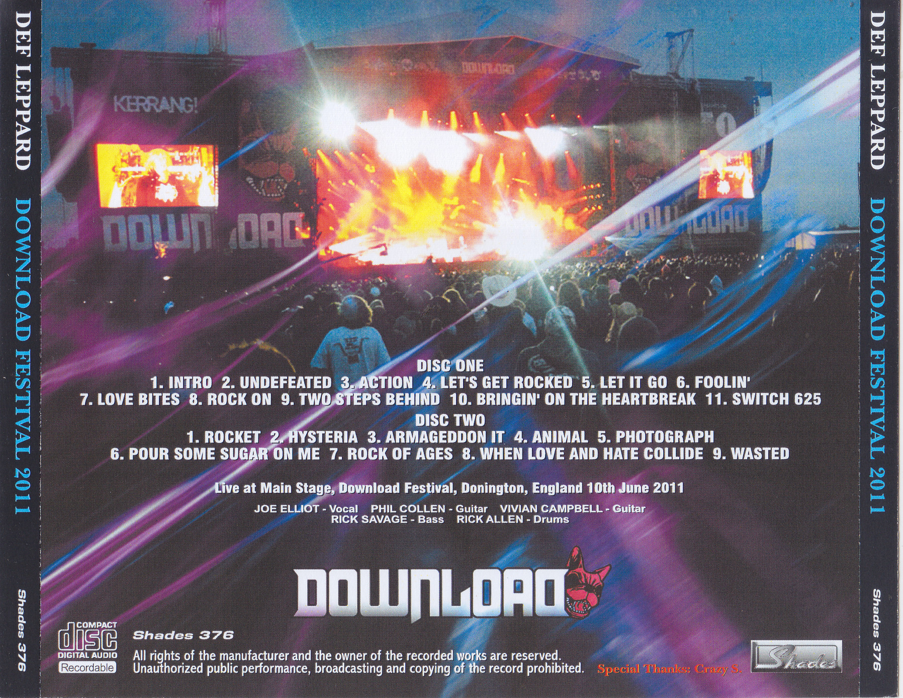 Def Leppard - Download Festival 2011(2Pro-CDR)Shades 376