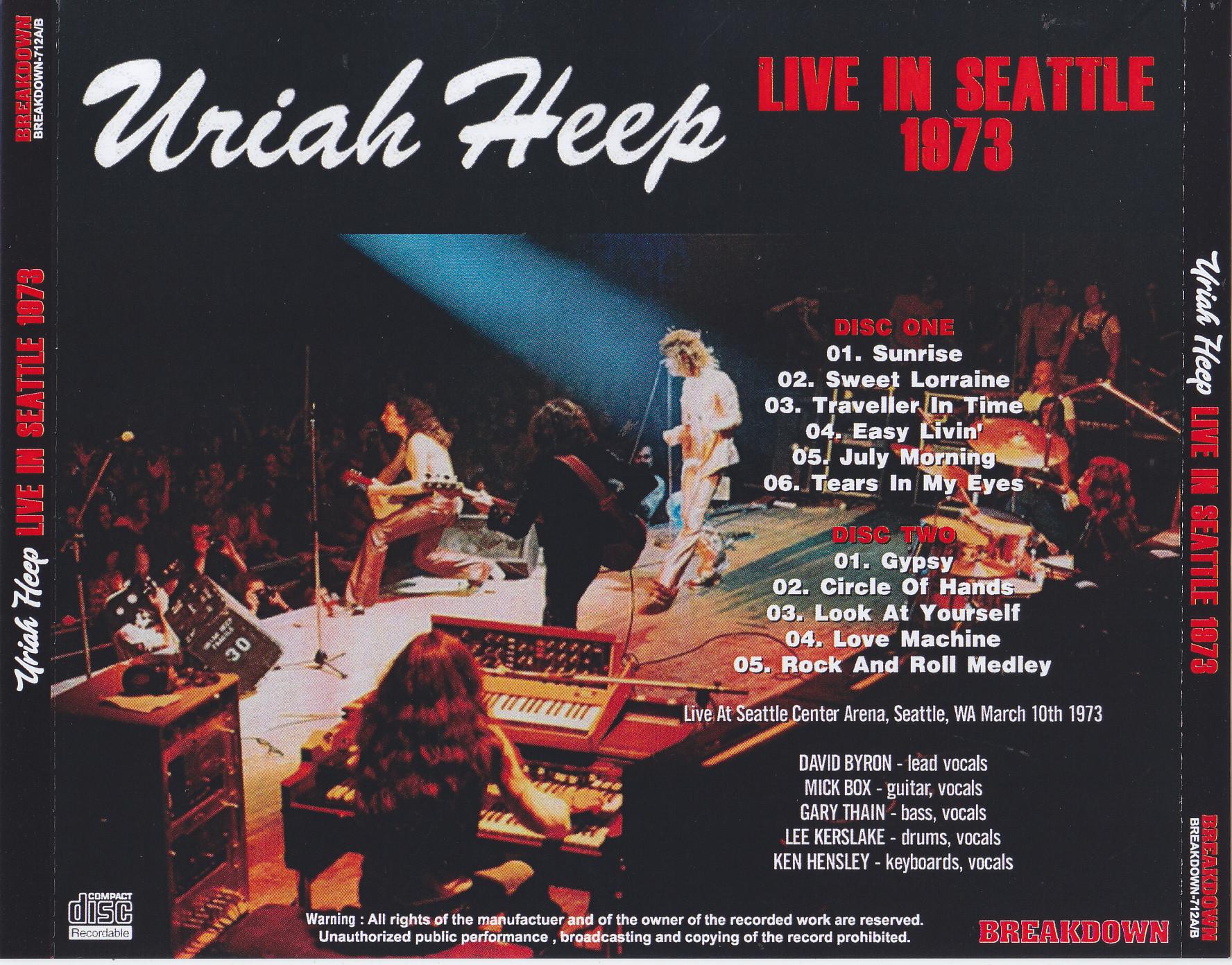 Uriah Heep Live In Seattle 1973 2pro Cdr Breakdown 712a B Discjapan