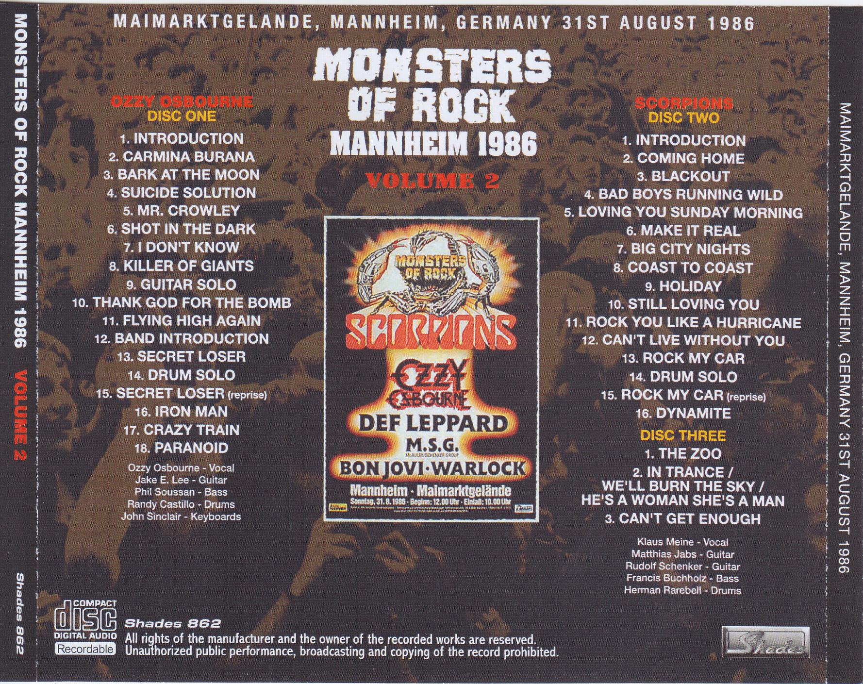 Bekannt Various Artists – Monsters Of Rock Mannheim 1986 vol 2 (3Pro-CDR HW25