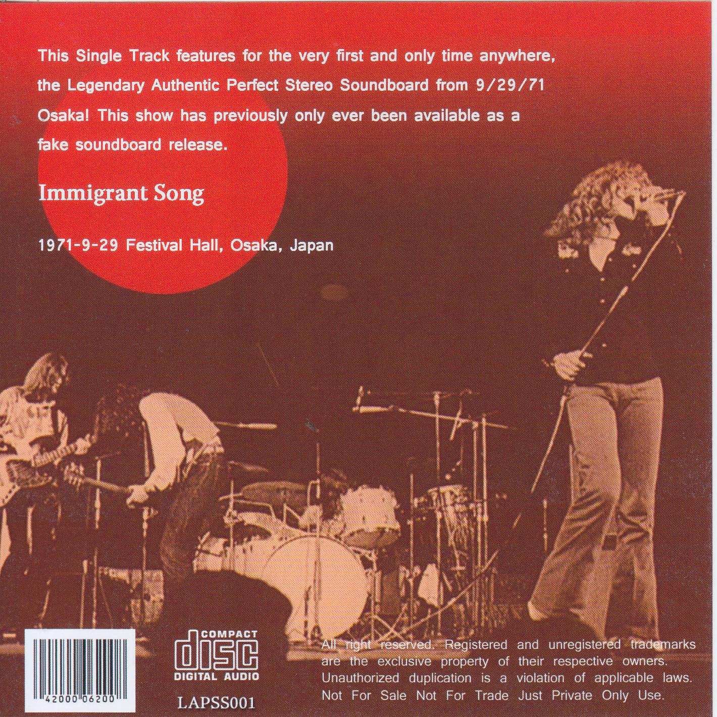 Led Zeppelin 929 Immigrant Song Soundboard Single 1Single CD