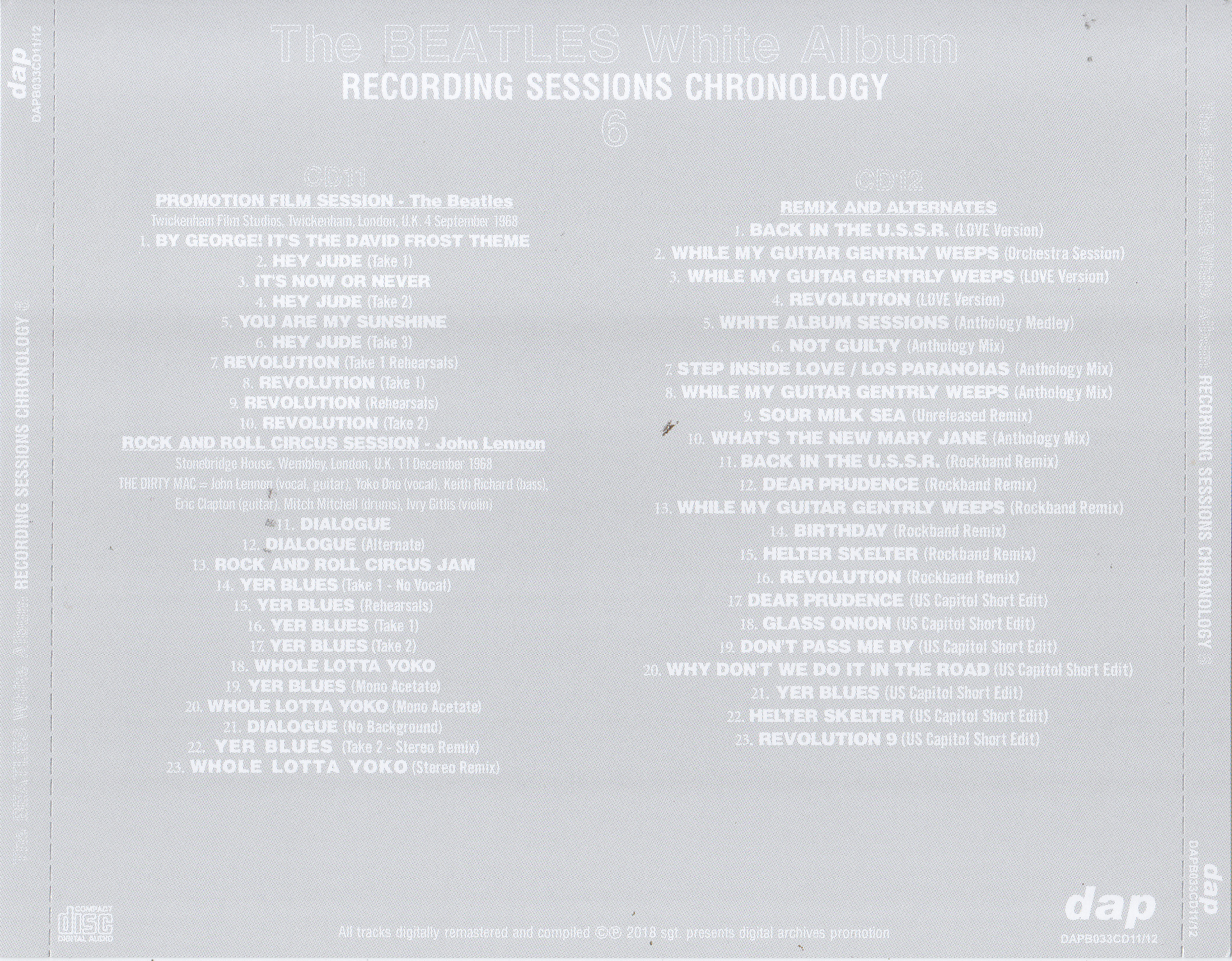 Beatles The White Album Recording Sessions Chronology
