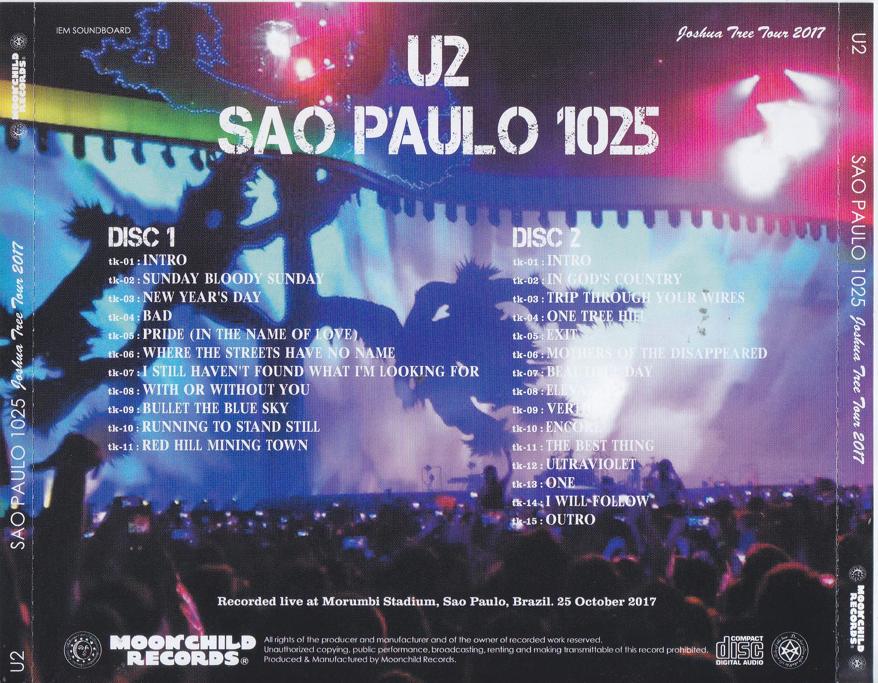 U2 - Sao Paulo 1025 (2CD) Moonchild Records  MC-127