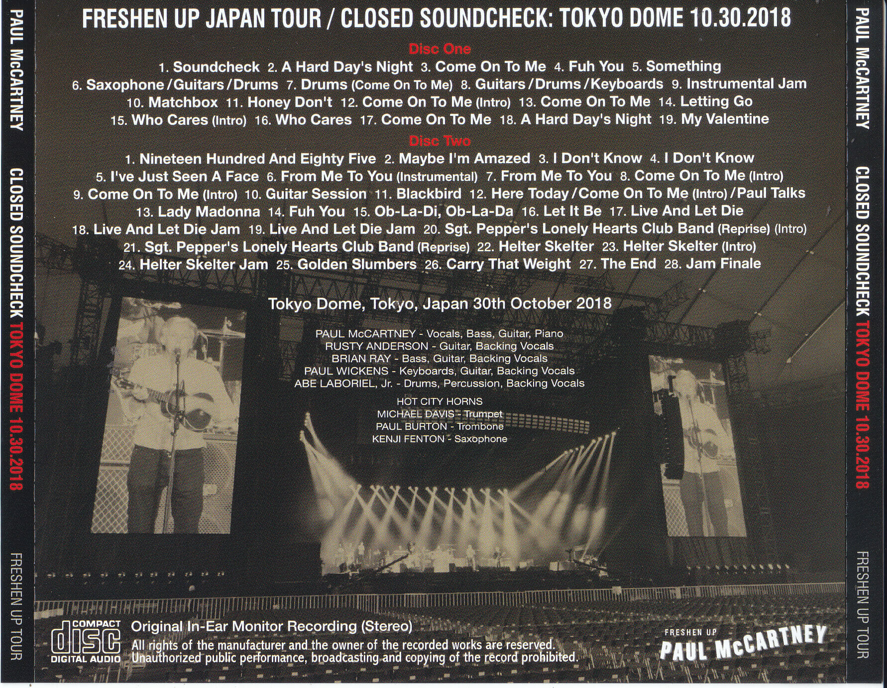 Paul McCartney - Closed Soundcheck At Tokyo Dome 10 30 2018 ( 2CD ) Non  Label