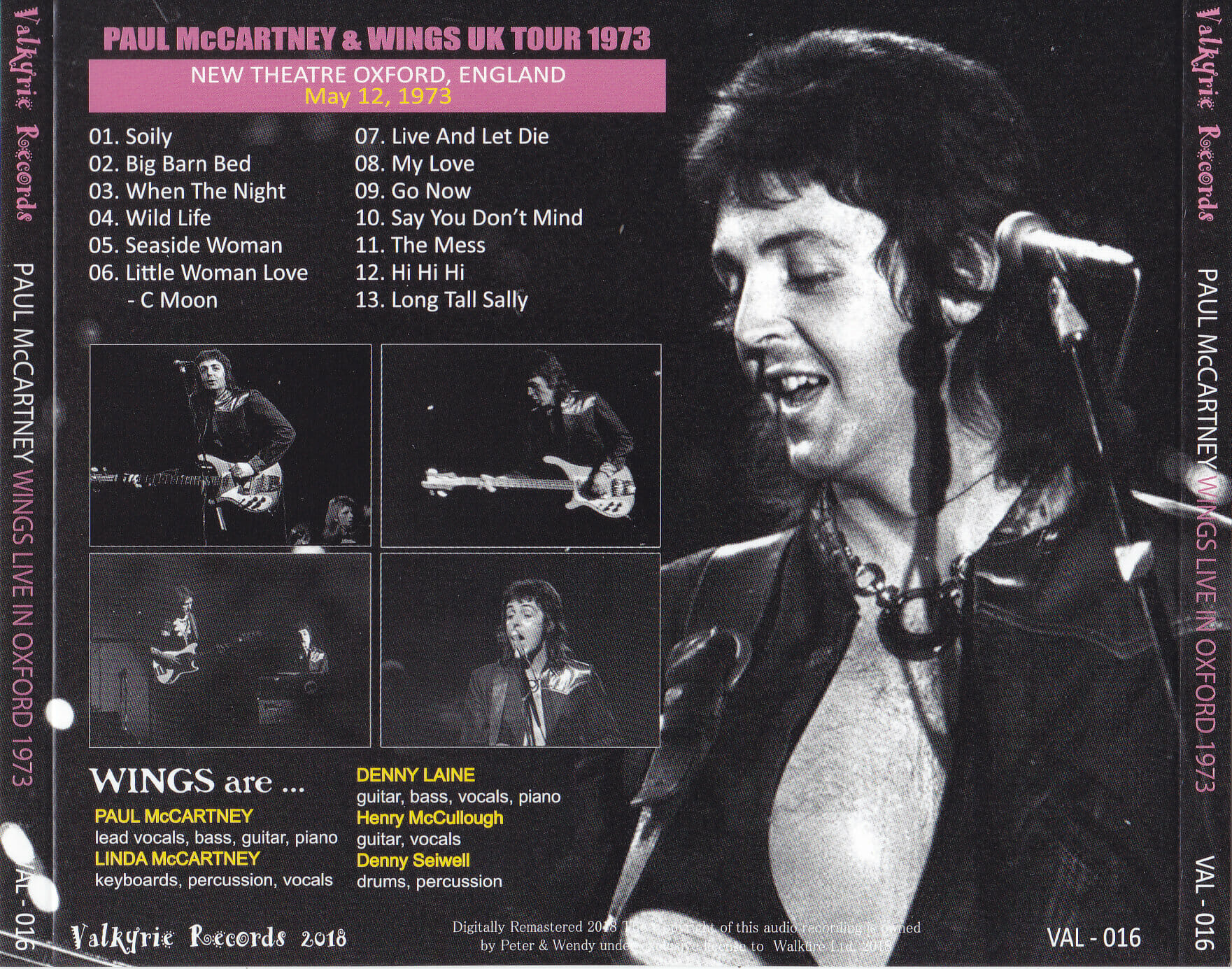 Paul McCartney And Wings - Live In Oxford 1973 ( 1CD With OBI Strip )  Valkyrie Records  VAL-16