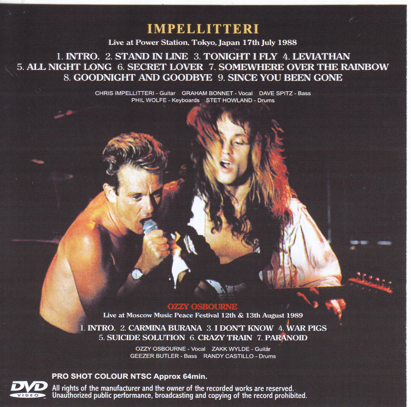 Impellitteri-Stand In Tokyo Live(1Single DVDR)Non Label