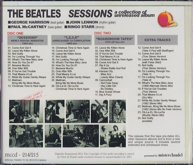 Beatles, The - Sessions A Collection Of Unreleased Album (2CD With Program  Republica) Misterclaudel  MCCD-214/215